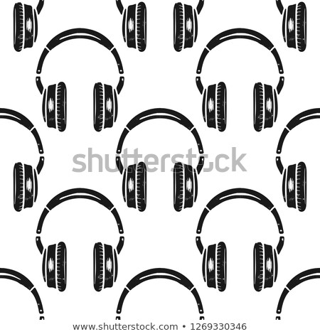 Headphones seamless pattern. Music symbol, silhouette distressed style. Musical wallpaper background Stock photo © JeksonGraphics