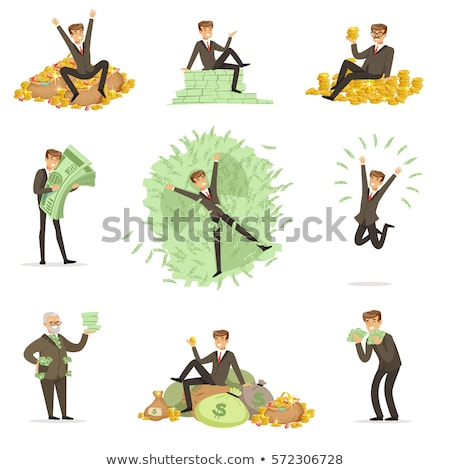 Rich smiling man bathing in money Stock photo © jossdiim