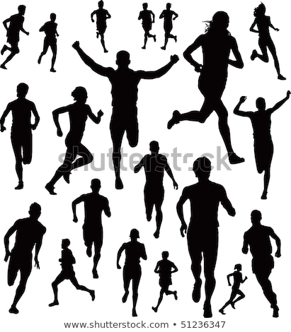 runner male female in country vector illustration stock photo © robuart