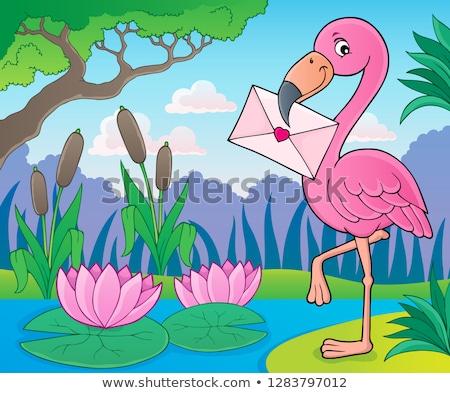 vettore · Flamingo · uccello · sagome · senza · soluzione · di · continuità · rosa - foto d'archivio © clairev