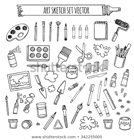 Palette with paint brush hand drawn sketch icon. Stock photo © RAStudio