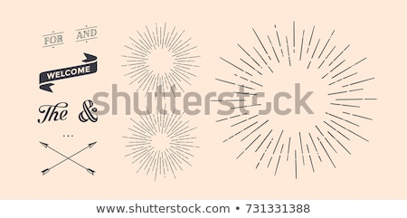 set of vintage graphic design elements linear drawing stock photo © foxysgraphic
