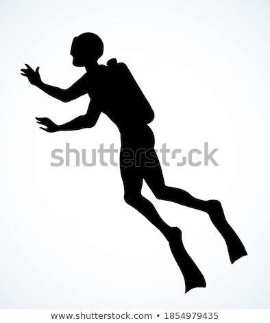 Swimming pool female diving hand drawn outline doodle icon. Stock photo © RAStudio