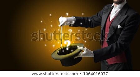Stockfoto: Goochelaar · vraag · borden · cilinder · witte · handschoenen