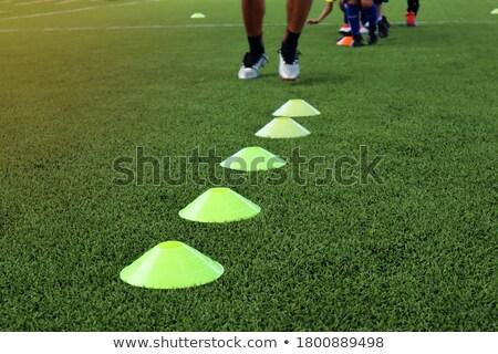 Terrain de football formation équipement clôture football équipe Photo stock © matimix