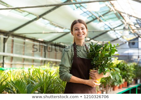 Image of european woman gardener 20s wearing apron standing with Stock photo © deandrobot