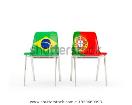 Twee stoelen vlaggen Brazilië Portugal geïsoleerd Stockfoto © MikhailMishchenko