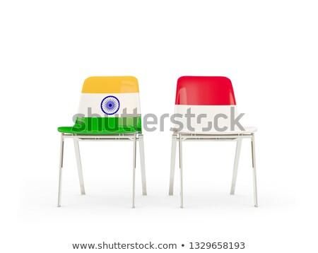 Kettő székek zászlók India Indonézia izolált Stock fotó © MikhailMishchenko