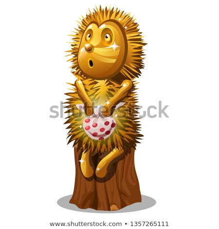 Golden statuette in the form of a hedgehog with a bag sitting on a stump isolated on white backgroun Stock photo © Lady-Luck