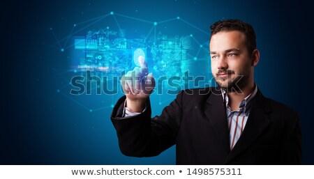 男 · 触れる · ホログラム · 画面 · キューブ · シンボル - ストックフォト © ra2studio