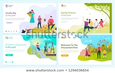 enfants · aire · de · jeux · design · style · coloré · illustration - photo stock © robuart