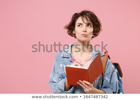 Campus Student Girls. Papers and Bags Isolated Stock photo © robuart