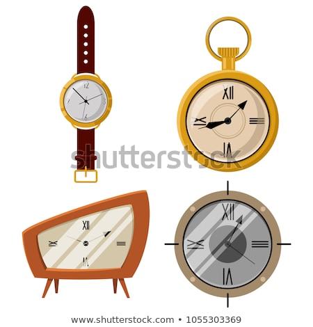 Desenho animado relógio de bolso preto e branco ilustração corrida fitness Foto stock © bennerdesign