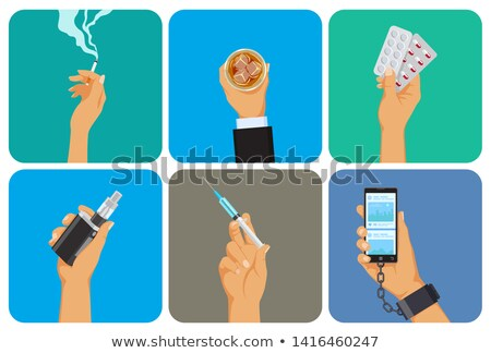 Set of bad habit, addiction icons, unhealthy lifestyle, smoking, alcohol, drugs, vape, gadget overus Stock photo © MarySan