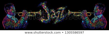 Vektor dzsessz poszter trombita játékos fesztivál Stock fotó © Giraffarte