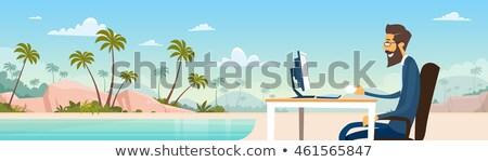 Zomertijd business freelancer strand vector afgelegen Stockfoto © robuart