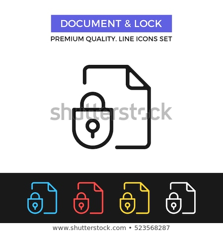 padlock site coding system vector thin line icon stock photo © pikepicture