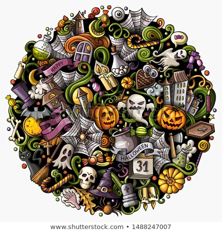 cartoon doodles happy halloween illustration bright colors funny round picture stock photo © balabolka