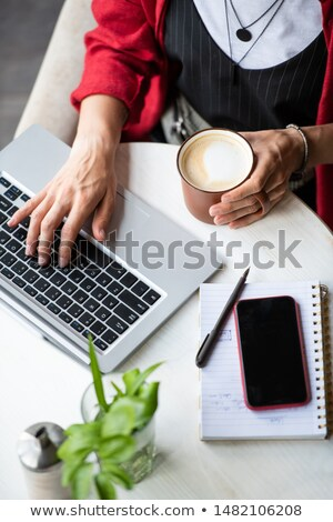 Young woman with cappuccino pressing keys of laptop keypad by workplace Stock photo © pressmaster