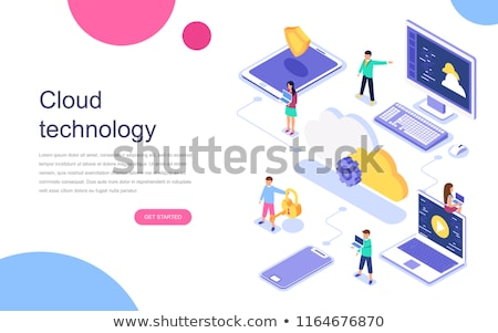 Logiciels solutions portable app vecteur femmes Photo stock © robuart