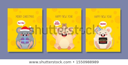 2020 year of mouse. Cute cartoon rat holds cheese Stock photo © orensila