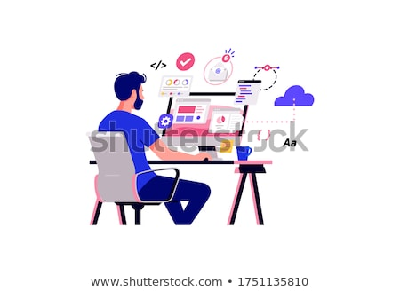 jonge · man · werken · laptop · stijl · illustratie · vrolijk - stockfoto © shai_halud
