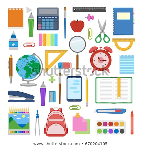 School And Office Stationery Items Color Set Vector Stock photo © pikepicture