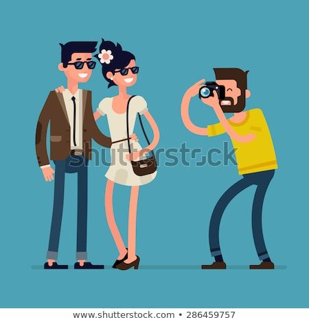 Smiling Man and Woman, Portrait View, Photo Vector Stock photo © robuart