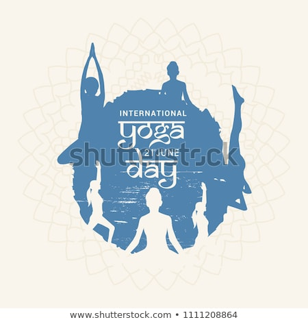Yoga Day banner of woman in pose Stock photo © cienpies