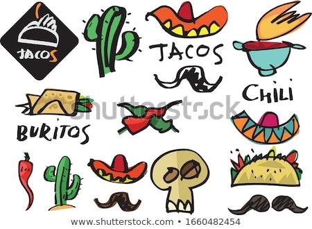 Conjunto mexicano tacos carne legumes cozinhar Foto stock © karandaev
