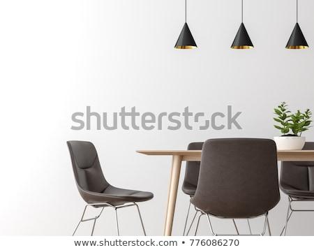 Eettafel leder stoelen hout kamer stoel Stockfoto © magraphics