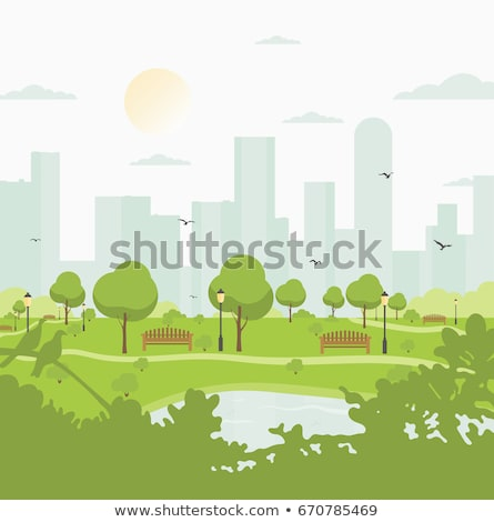 Cityscape City with Skyscrapers and Bushes Streets Stock photo © robuart