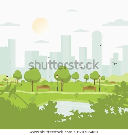 Városkép város felhőkarcolók bokrok utcák autópályák Stock fotó © robuart