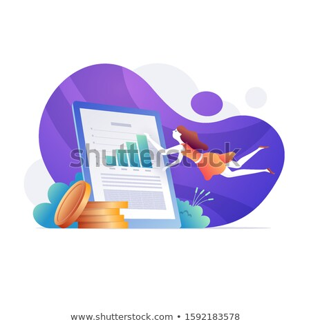 Financial analyst doing income statement with large screen Stock photo © sgursozlu