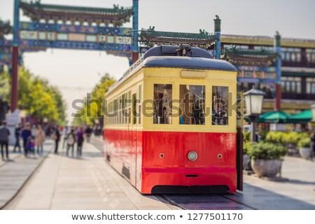 Kínai retro villamos központ Peking autó Stock fotó © galitskaya