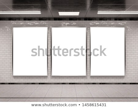 Blank vertical billboard on metro station Stock photo © magraphics