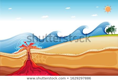 Cena grande ondas lava oceano ilustração Foto stock © bluering