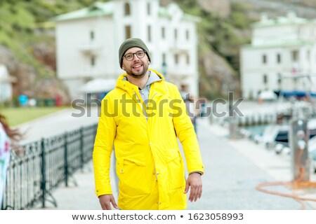 Człowiek marynarz molo morza miasta kobiet Zdjęcia stock © ElenaBatkova