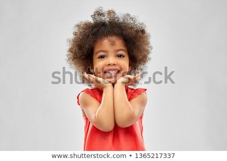 Heureux peu fille gris enfance Photo stock © dolgachov