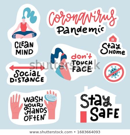 Coronavirus lettering. 2019-nCoV  Pandemic virus and bacteria le Stock photo © popaukropa