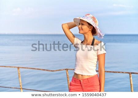 Lövés kellemes néz női fehér nyár Stock fotó © vkstudio