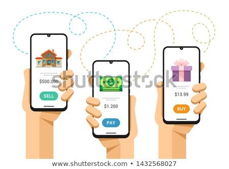 Okostelefon vázlat emberi kéz elad ingatlan illetmény Stock fotó © karetniy