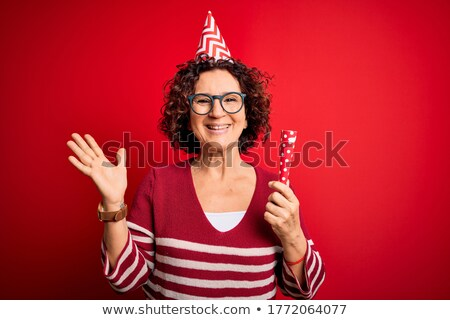 amazed funny senior woman with big party glasses Stock photo © dolgachov