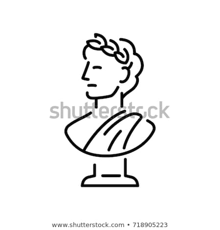 bust of greek emperor icon vector outline illustration Stock photo © pikepicture