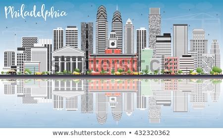 Filadélfia linha do horizonte cinza edifícios blue sky reflexões Foto stock © ShustrikS