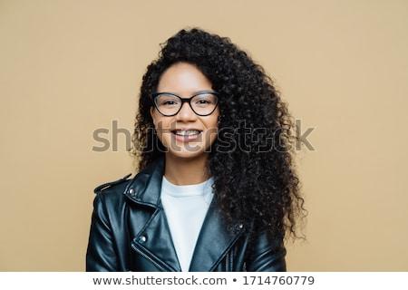 Elegante africano americano mulher smiles agradável falar Foto stock © vkstudio