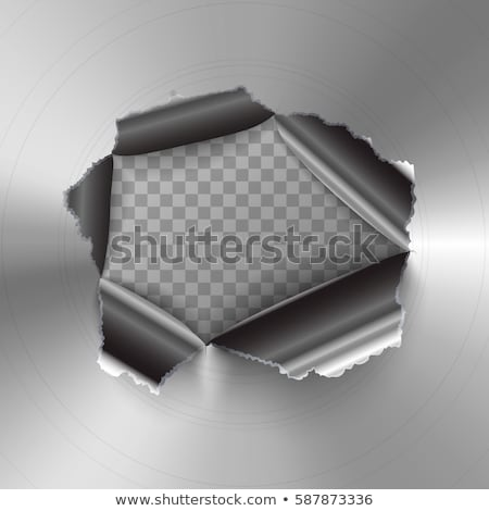 Torn hole in glossy round polished metal plate Stock photo © evgeny89