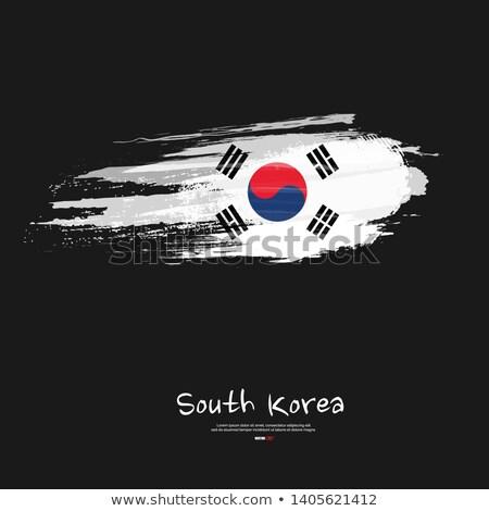 Grunge brush stroke with South Korea national flag on white Stock photo © evgeny89