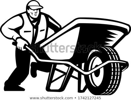 Giardiniere spingendo carriola retro bianco nero Foto d'archivio © patrimonio