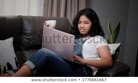sorridente · computador · portátil · caderno · educação · tecnologia - foto stock © dolgachov